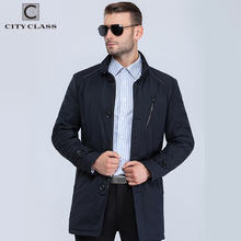 City Class 2018 new mens spring autumn warm coats stand collar bussiness style fashion casual slim trench for male 16512(China)