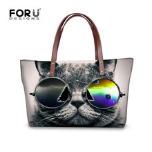 FORUDESIGNS Black 3D Cat with Sunglasses Print Crossbody Bag for Women Large Capacity Female Shop Bag Messenger Bags Bolso Mujer(China)