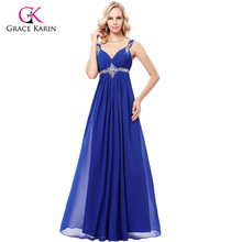 Grace Karin 2017 Chiffon Long Evening Dress Abendkleid Purple Blue Grey Sleeveless Dress Beading Evening Gown Formal Dresses(Hong Kong)