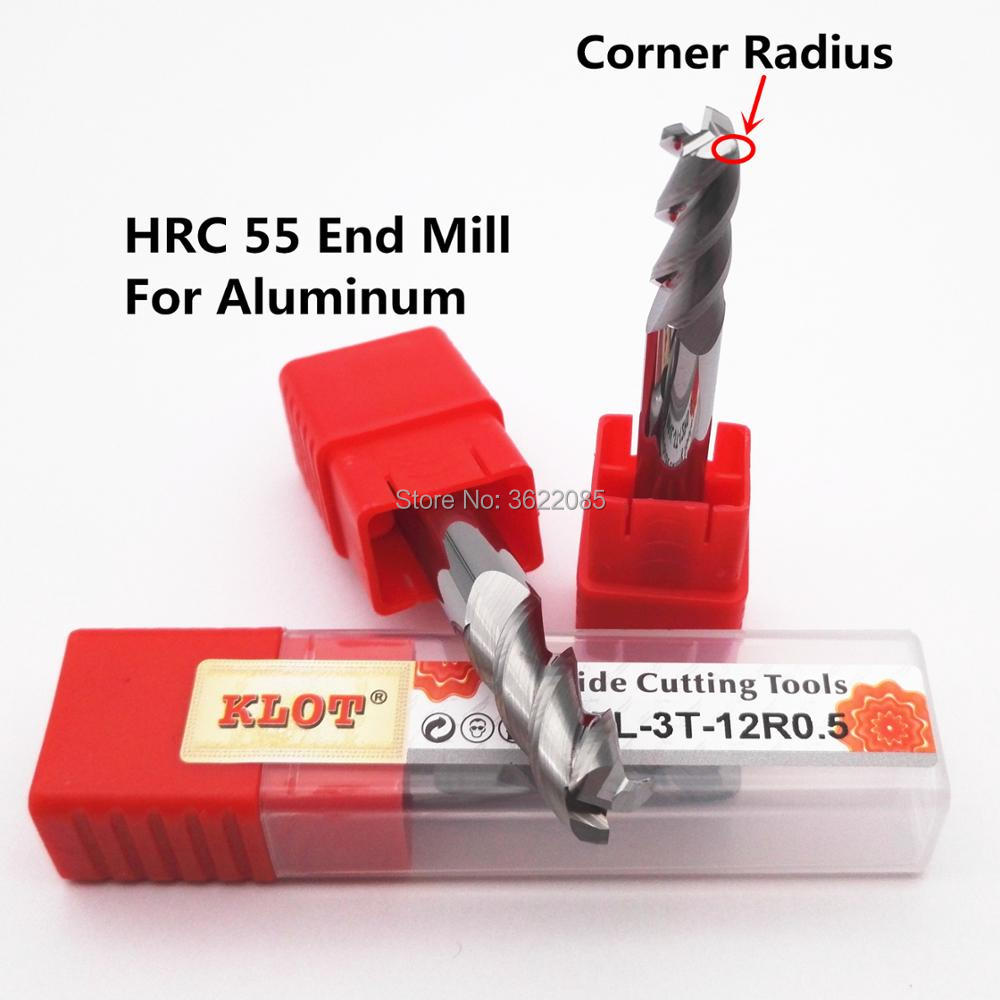 KLOT HRC55 Solid Carbide End Mill High Performance for Aluminum 8mm-20mm 3-Flute