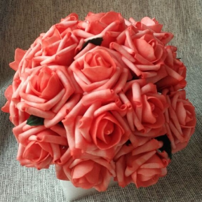 24 Bunches Fake Flowers Artificial Coral Roses 144 Flower Heads For ...