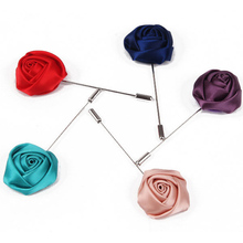 LNRRABC Hot Fashion Cheap Handmade Cloth Silk Silver Fabric Rose Flower Brooches Pin for Women and Men Jewelry Free Shippi lif(China)