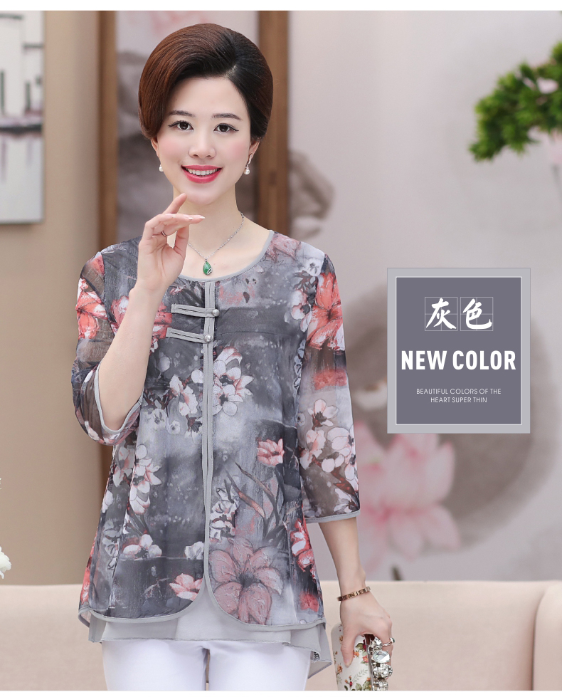 WAEOLSA Chinese Style Woman Ethnical Chiffon Blouses Gray Blue Red Green Flower Layered Tops Women Oriental Boon Design Blouse Lady Crepe Tunic (14)