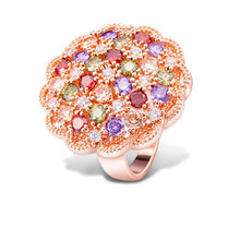Latest Luxury Jewelry AAA CZ Zircon Stone Colorful Rings Rose Gold-color Big Round Flower Rhinestone Wedding Ring for Women(China)