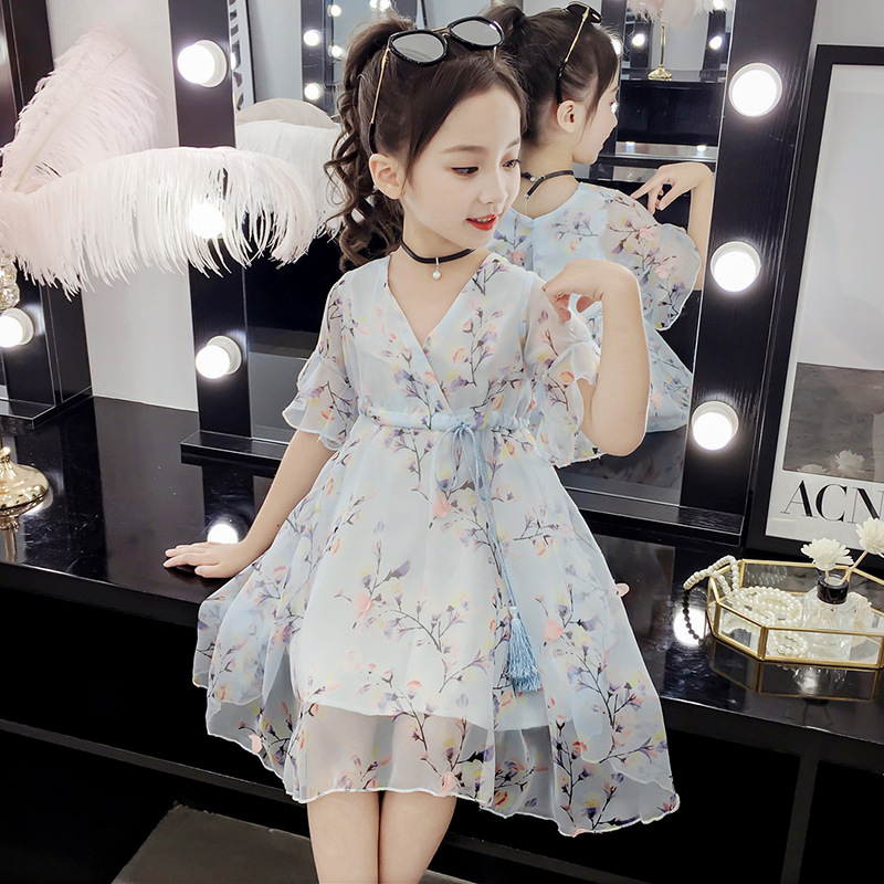v-neck girls dress lace mesh blue pink cute kid girl summer clothes princess kids dresses a-line floral 4 to 9 years children