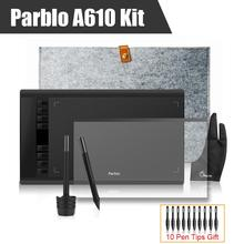 2 Pens Parblo A610 Graphics Drawing Digital Tablet + Wool Liner Bag+Protective Film + Two-Finger Glove+10 Pen Tips