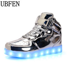 Hot lights up led luminous men shoes high top glowing male casual shoes with Led simulation sole charge for adults neon basket(China)