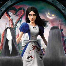 60CM-120CM New Design Alice Madness Returns Anime Cosplay Wig Hair Silky Straight Natural Black No Bangs Middle Parting Cos Wigs