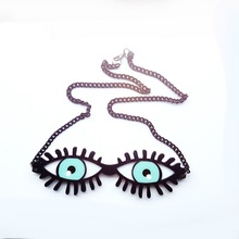 European Fashion Night Club Funny Exaggerated  Punk Jewelry Accessories Hip Hop Acrylic Blue Eyes Pendant Necklace Chokers