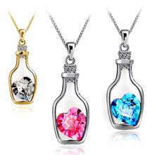 Luxury Jewelry Silver Color with Wish Bottle Inlay Love Heart Crystals Vial Pendant Necklace for Women Gift(China)