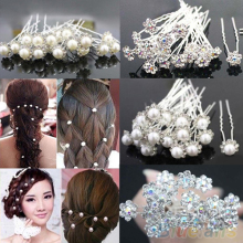 Fashion 20Pcs Wedding Bridal Pearl Flower Crystal Hairpin Hair Clips Bridesmaid 4XHA(China)