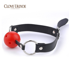 Buy Fetish Leather Band Restraints Ball Mouth Gag Mouth Flail Leather Mouth Plug Locking Oral Fixation Slave Bondage Adult Toys