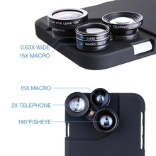 4-in-1 Mobile Phone Lens Kit Fisheye+Macro+Wide Angle+CPL+Phone Case For iphone 6/7 Plus /8 360 Degree Rotary Switch Lens Group(China)