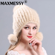 Maxmessy Russian Mink Fur Hat Beanies Real Fur Pompom Hat Natural Mink Fur Knitted Lined Beanie Headdresses for Women's Hats Cap