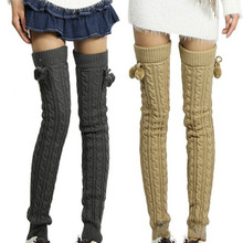 BONJEAN 2017 Fashion Women's Winter Crochet Knitted Stocking Footless Leg Warmers Boot Thigh High Stockings ladies Leg Warmers(China)