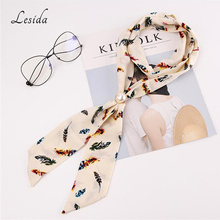 LESIDA Small Chiffon Ribbon Neck Scarf Women Pearl Pendant Tie scarf Necklace Ladies Kerchief Head Infinity Scarves 146*6CM 3405