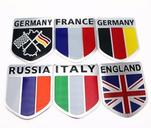 3D Aluminum car Flag sticker accessories For VW/mazda/ mitsubishi/audi/hyundai /opel /skoda/ford LADA Renault bmw car styling