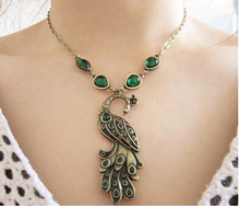 na079 Retro Green Enamel Peacock Necklace Charm Pendant Necklace Jewelry Wholesale