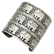 Egypt African Vintage Silver Embossed Elephant OM Hindu Ganesha Big Bracelet Bangle Cuff Jewelry Anime