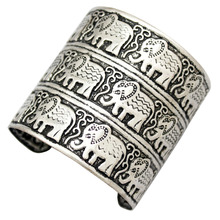 Egypt African Vintage Silver Embossed Elephant OM Hindu Ganesha Big Bracelet Bangle Cuff Jewelry Anime(China)