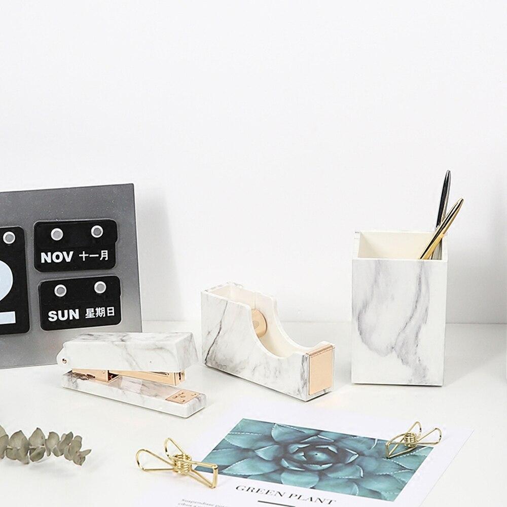 office desktop supplies set marble stapler tape dispenser pen holder kit