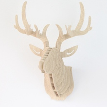 3D Puzzle Wooden Animal Elk Deer Head Art Model Sculpture Figurines DIY Puzzle Crafts Ornaments Home Wall Hanging Decor