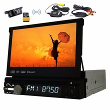 Single Din Car Radio Stereo Monitor 1din Car GPS Navigation Car gps DVD Player Bluetooth FM steering wheel+free wireless camera(China)