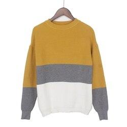 Женский пуловер с длинным рукавом GIGOGOU, разноцветный плотный свитер, повседневный теплый джемпер, толстый топ, верхняя одежда для осени и зи...