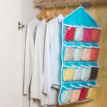 2016 New Arrivals Free Shipping 16 Pockets Over Door Home Tidy Organizer Hanging Bag Shoe Rack Storage Pouch Blue Hot Sale(China)