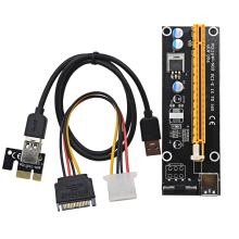 CHIPAL 60CM PCI Express PCI-E 1X to 16X Riser Card Extender PCIE Adapter + USB 3.0 Cable & 15Pin SATA to 4Pin IDE Power Cord