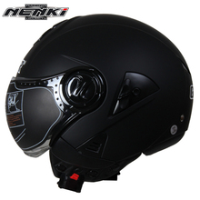 NENKI Electric Motorcycle Helmet Vintage Style Cruiser Touring Chopper Street Bike Scooter Helmet with Clear Lens Shield 622(China)