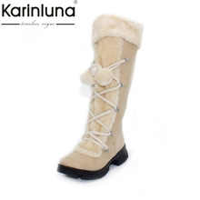 Wholesale 2017 New Hot Fashion sexy ladies' Platform Boots Women Knee High boots winter women shoes fur warm snow boots(China)