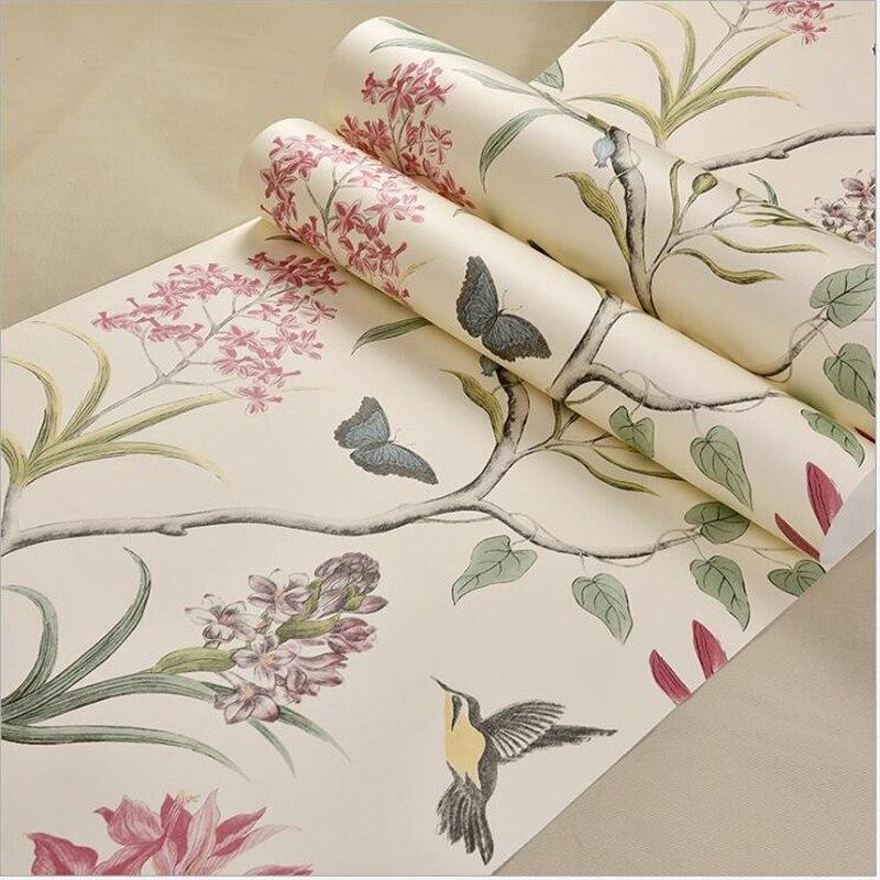 beibehang American garden birds and flowers non-woven wallpaper ring warm bedroom living room sofa TV background wallpaper<br>