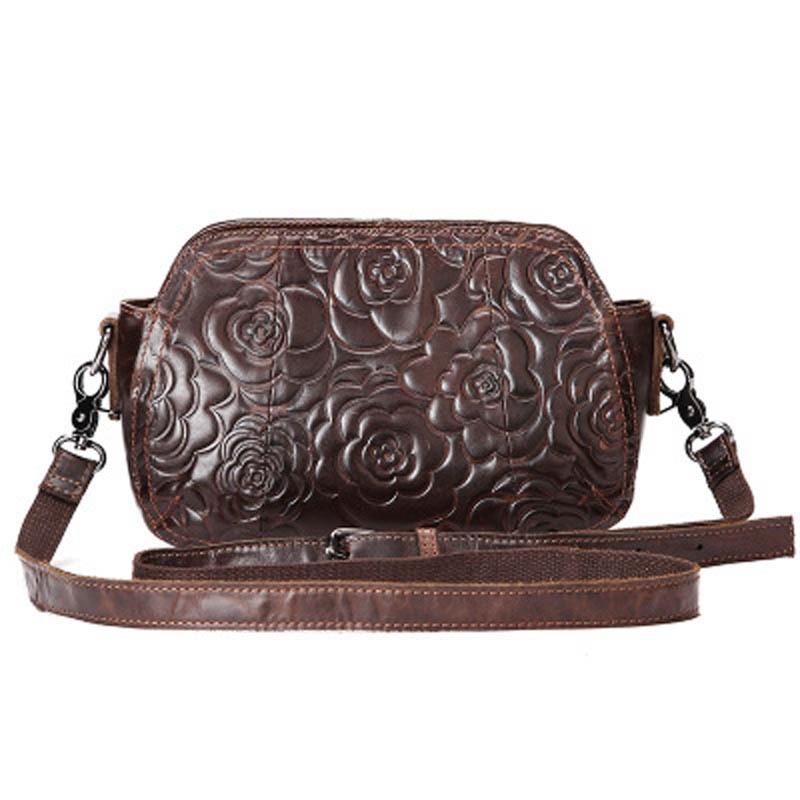Ladies Genuine Leather Messenger Bag Female Vintage Women Shoulder Bags Classic Embossed Nylon Flower Bag Small Handbag LS0133<br>