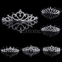 New 1PC Girl Bridal Princess Wedding Hair Accessories Crystal Rhinestone Crown Headband Stunning Crystal Tiara Wedding Crown