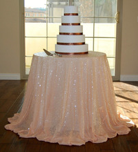 48''-132'' Round Choose Your Size Peach Sequin Tablecloth Wholesale Wedding Beautiful Sequin Table Cloth / Overlay /Cover-a