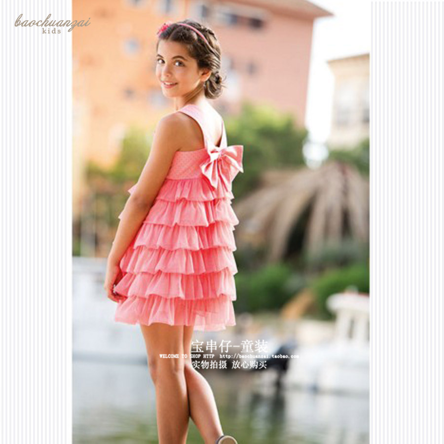 Bao Zi on girls lined cotton cake  girls  Tutu Princess Dress Pink Dress <br>