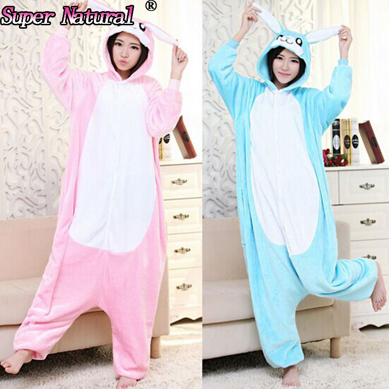 HKSNG Pink Blue Bunny Rabbit Winter Fleece Adult Animal Lovely Christmas Footed Pajamas Onesies Cosplay Costumes Pyjamas(China)