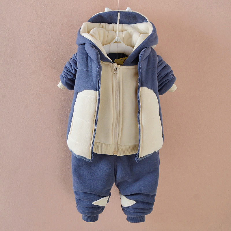 2017 baby boys winter clothing set three piece suit thick clothes fashion cute cartoon kids outwear cotton warm jacket+vest+pant<br>
