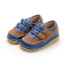 Two Strapes Navy Brown Baby Boy Squeaky Shoes Toddler Shoes Size 3456789 Free Shipping(China)