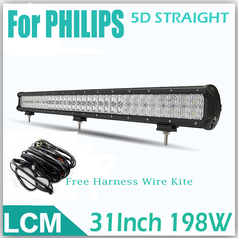 For PHILIPS 5D Straight Combo 198W 31LED Work Light Bar Offroad Driving Lamp External Lights SUV Truck+Free Harness Wire Kite <br><br>Aliexpress