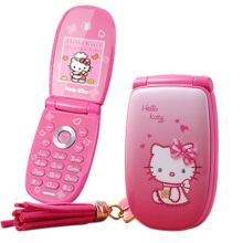 "KUH W88 Flip unlocked vibration 1.8"" pretty flashlight small woman kid girl cute hello kitty cartoon mini mobile phone P473(China)"