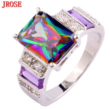 JROSE Cocktail Fire Rainbow & Purple & White CZ Silver Color Ring Size 6 7 8 9 10 11 12 13 Gorgeous Fashion Jewelry Gifts(China)