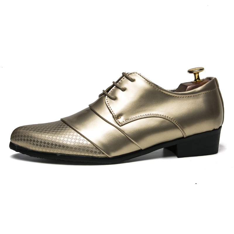 comfortable mens dress shoes luxury brand italian gold male footwear formal patent leather woven skin derby oxford shoes for men (4)