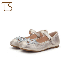 T.S. kids shoes 2017 new frosted leather Sequins bow princess shoes children magic stickers shoes girls flat shoes size26-36(China)