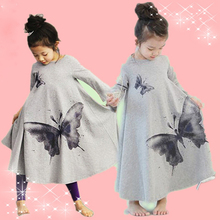 Summer Nightgowns Girl Spring And Autumn Votton Long-sleeved Long Nightgowns Children's Cute Butterfly Family Fitted Nightdress(China)