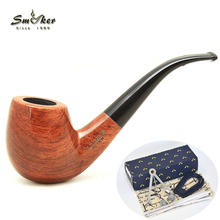 Smoker Wooden Smoking Pipe Rosewood Tobacco Pipe For Smoking Tobacco New Wooden Pipe tobacco 201BH 6 Smoking Pipe Tools Set