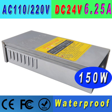 Waterproof adjustable power supply  24V 150W  LED display  transformer AC100/220V For commercial unit wholesale 5 pcs/lot