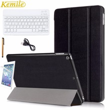 "Kemile For New iPad 2017 9.7 inch Case Ultra Slim Smart Cover Trifold Stand with Auto Sleep/Wake Function with 9"" White Keyboard"