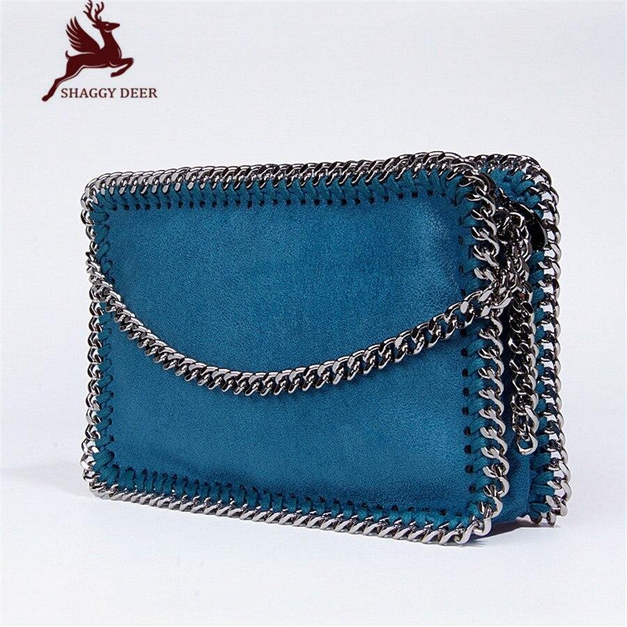 New High Quality PVC Shaggy Deer Mini Mobile Phone Key Purse Flap Bag Simple Luxury Crossbody Zip Pocket Stella Chain Bag <br>